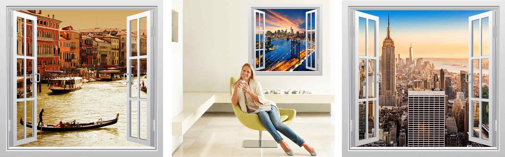 Αυτοκόλλητο παράθυρο με θέα. Optical illusion wall stickers.