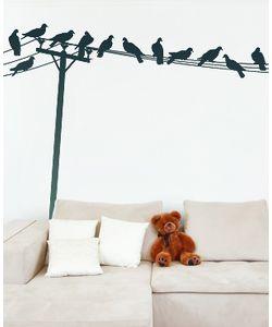 Αυτοκόλλητο τοίχου Πουλιά πάνω στο σύρμα