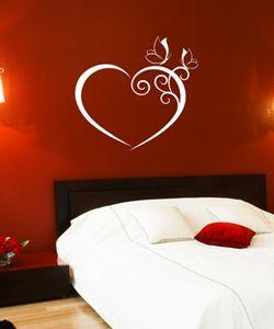 Αυτοκόλλητο τοίχου Καρδιά με πεταλούδες