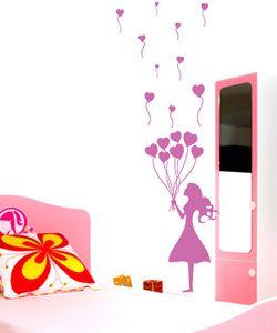 Αυτοκόλλητο Κοριτσάκι με μπαλόνια καρδιές