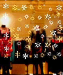 διακόσμηση βιτρίνας με νιφάδες χιονιού