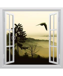 αυτοκόλλητο παράθυρο με θέα τη φύση