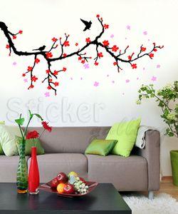 αυτοκόλλητο τοιχου κλαδι κερασιας με πουλακια και λουλούδια