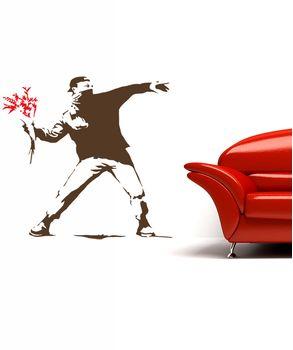 αυτοκόλλητο τοιχου Flower thrower-Banksy