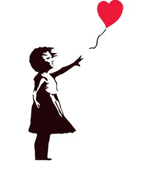 αυτοκόλλητο τοιχου κοριτσάκι με μπαλόνι