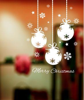 Αυτοκόλλητο βιτρίνας Χριστουγεννιάτικες μπάλες