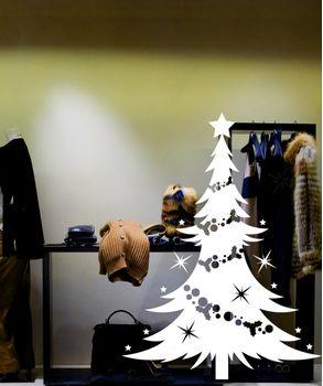 Αυτοκόλλητα Χριστουγεννιάτικα βιτρίνας Χριστουγεννιατικο δεντρο
