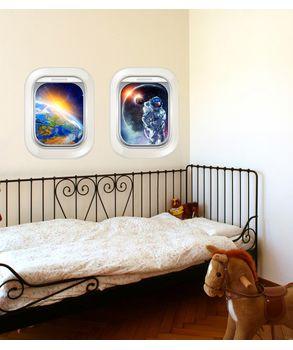 αυτοκόλλητο τοιχου με θέα στο διάστημα.illusion wall stickers