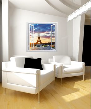 Αυτοκόλλητο παράθυρο με θέα στο Παρίσι.