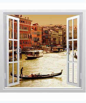 αυτοκόλλητο τοιχου παράθυρο με θέα τη Βενετία