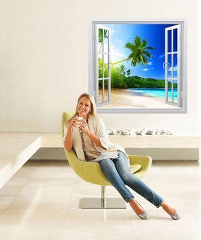 αυτοκόλλητο τοιχου παραθυρο με θέα. illusion wall stickers