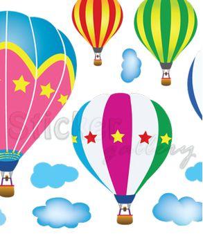 """Αυτοκόλλητο τοίχου - """"Πολύχρωμα Αερόστατα"""""""