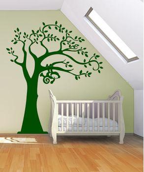 Αυτοκόλλητα Τοίχου Δέντρο με πιθηκάκι